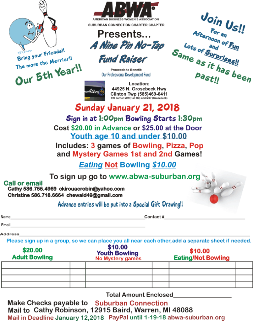 Bowling flyer for 2018 event